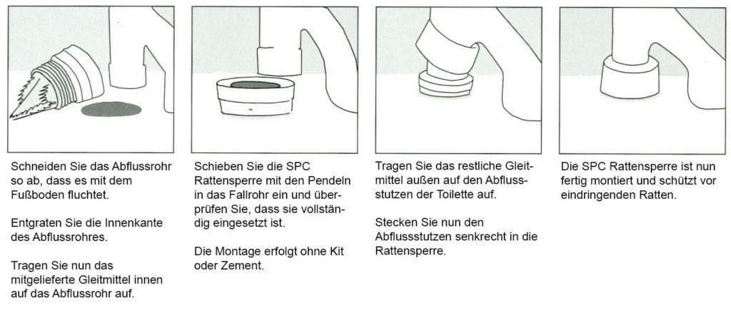 SPC Rattensperre für das WC mit senkrechter Abfluss